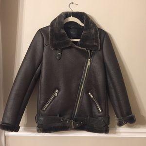 FOREVER 21 Faux Fur Shearling Olive Jacket